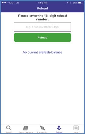 10. Enter the 16-digit reload number to reload credits.