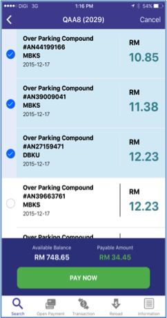 6. Select the over parking notices and compound notices for payment