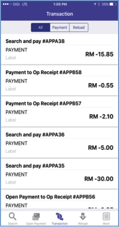 9. User can view their payment transactions and reload transactions.