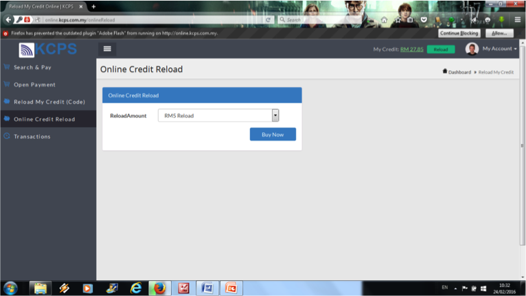 2. Select Online Credit Card Reload and select the reload amount and click buy now.